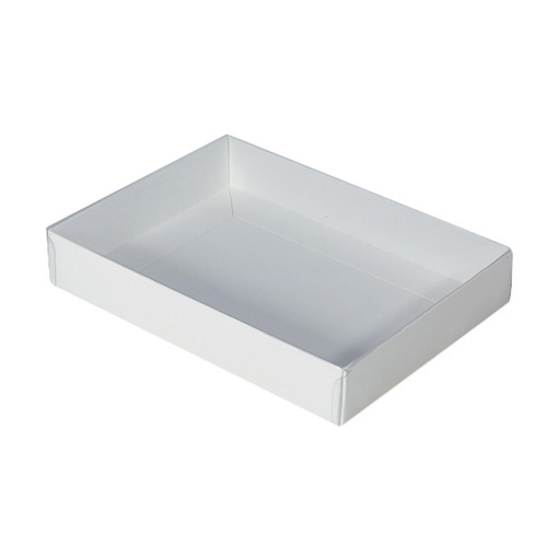 Cookie Box with Clear Lid - Smooth White (164mmx124mmx30mm)
