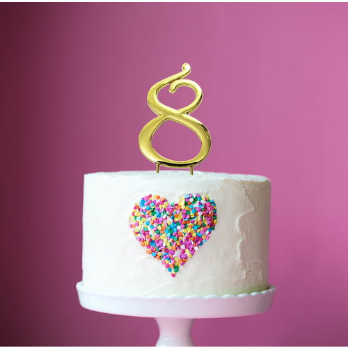 Gold Cake Topper - NUMBER 8