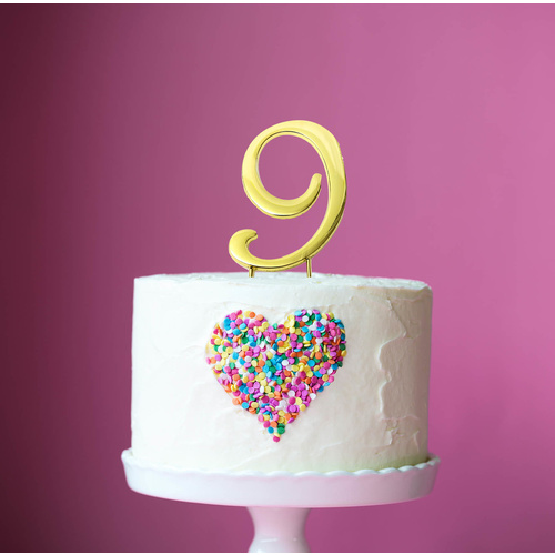 Gold Cake Topper - NUMBER 9