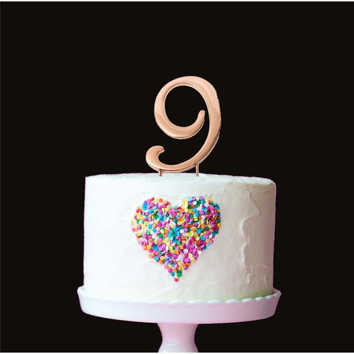 Rose Gold Cake Topper - NUMBER 9