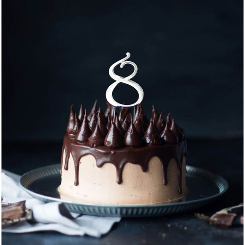 Silver Cake Topper - NUMBER 8